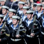 Freedom of the City - Photograph of the HMS Liverpool crew marching through the city