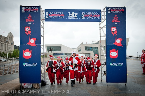 Santa Dash Beth Tweddle Photography Liverpool on the Pier Head